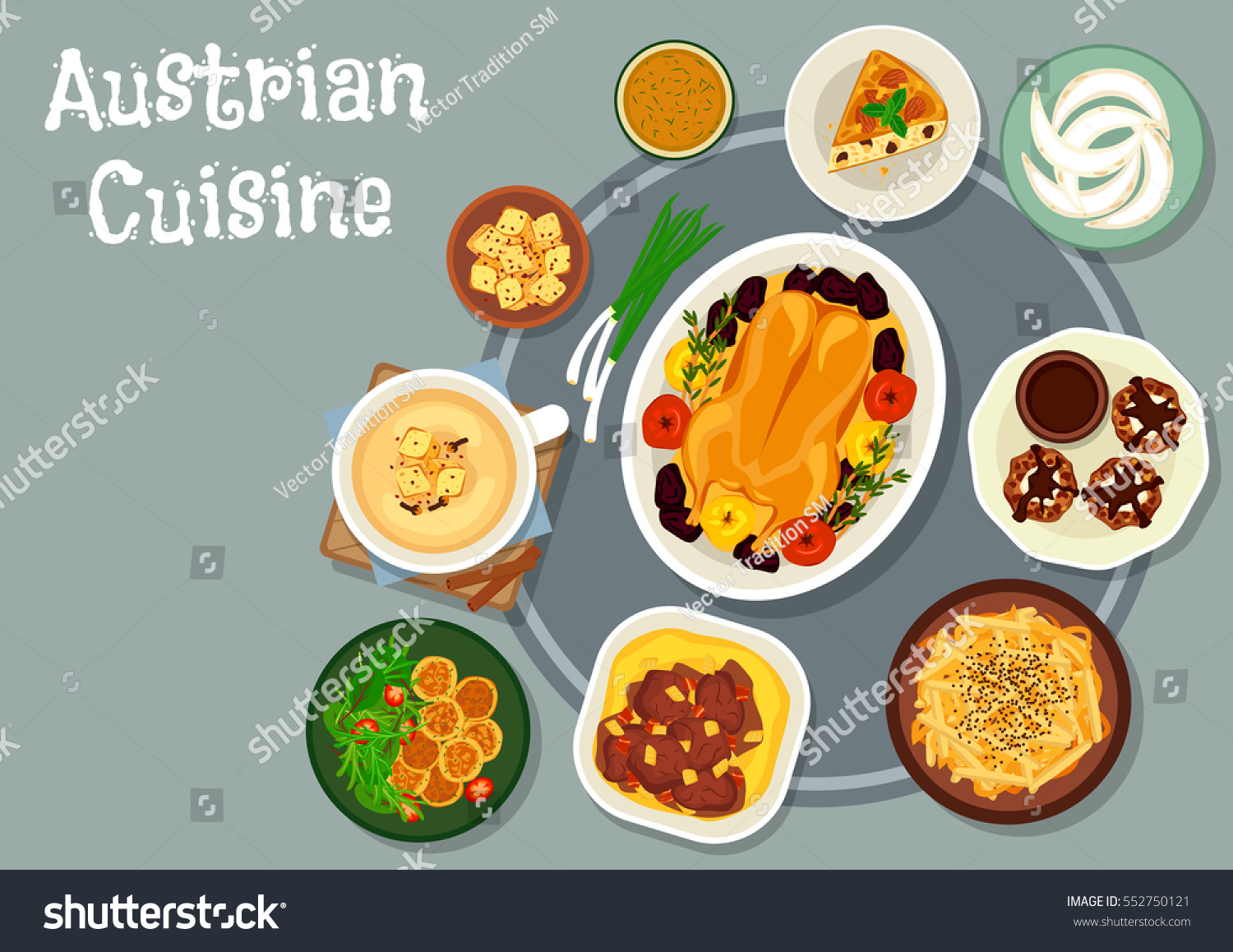 Austrian cuisine festive dinner icon beef stock vector for Austrian cuisine