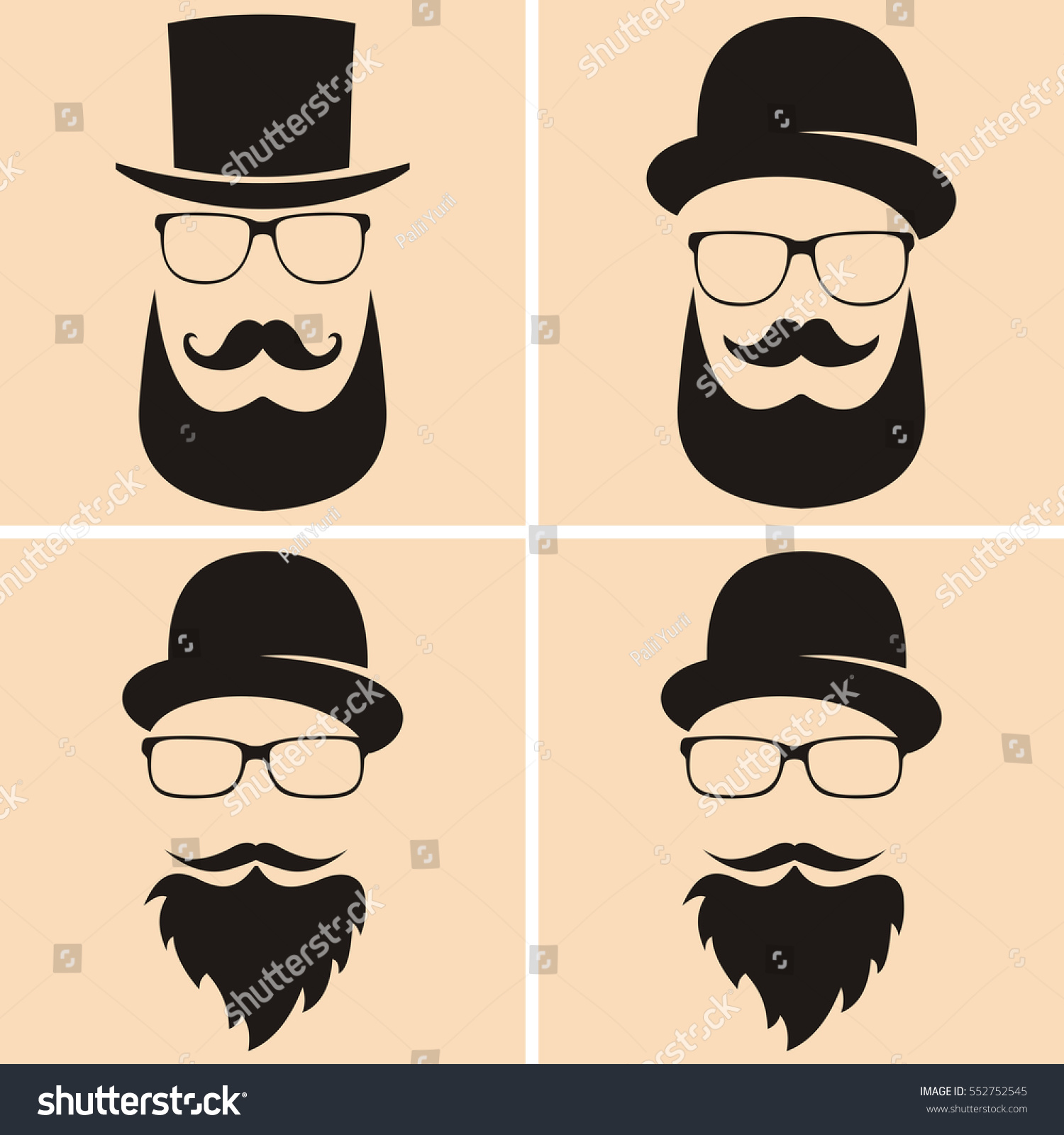 Set Fashion Silhouette Hipster Style Old Stock Vector