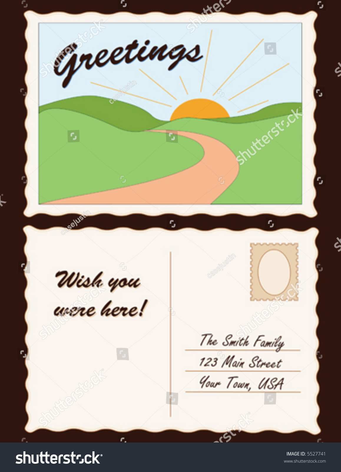 POSTCARD Greetings Travel Landscape Copy Space To Customize With Your Own Text And