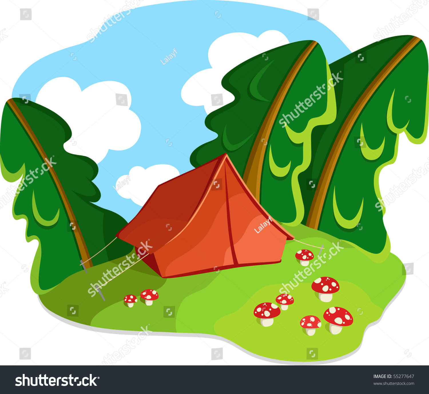 Tourist old-style tent in autumn forest and mushrooms. Vector illustration. No gradients & Tourist Oldstyle Tent Autumn Forest Mushrooms Stock Vector ...
