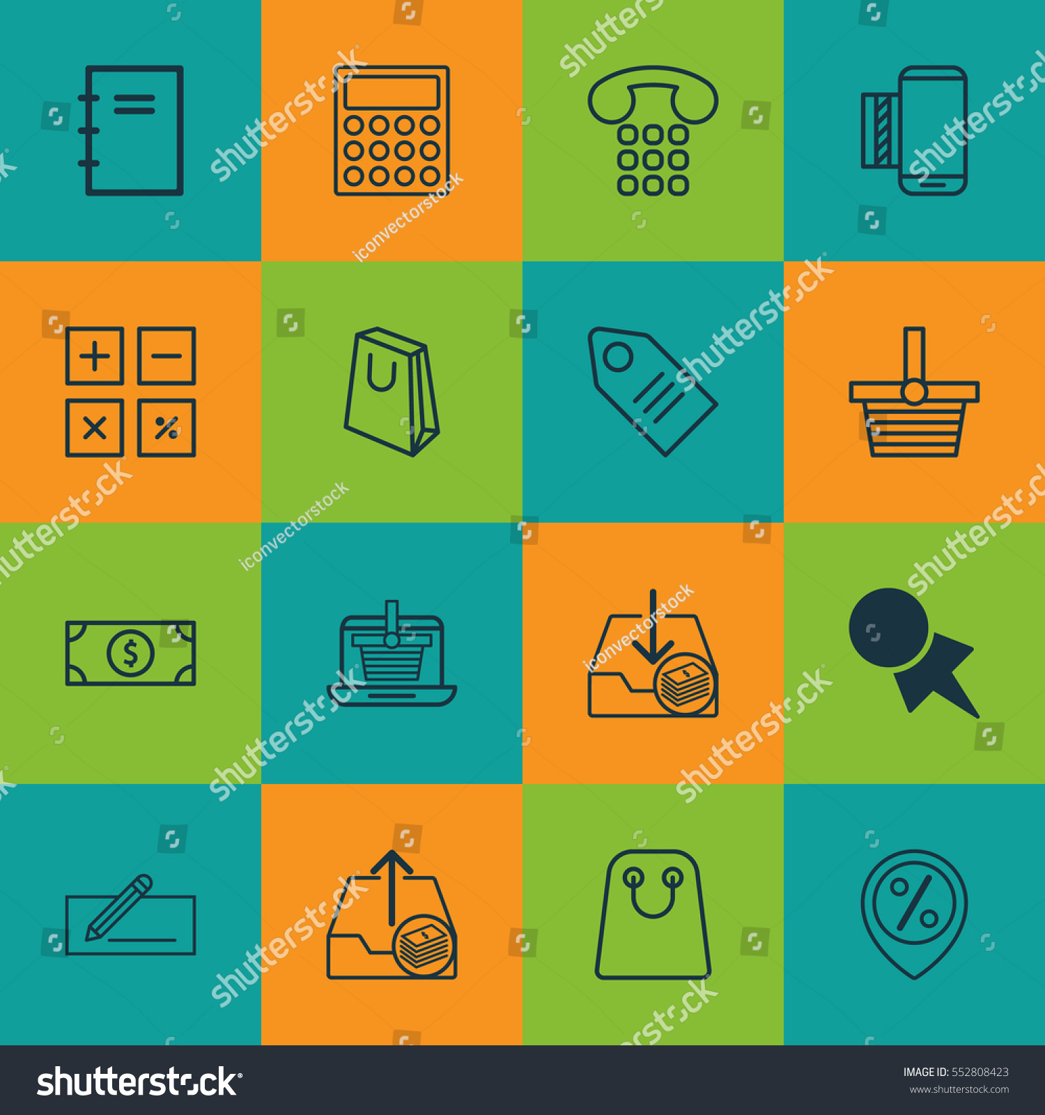 Set 16 Commerce Icons Includes E Trade Stock Vector Royalty Free