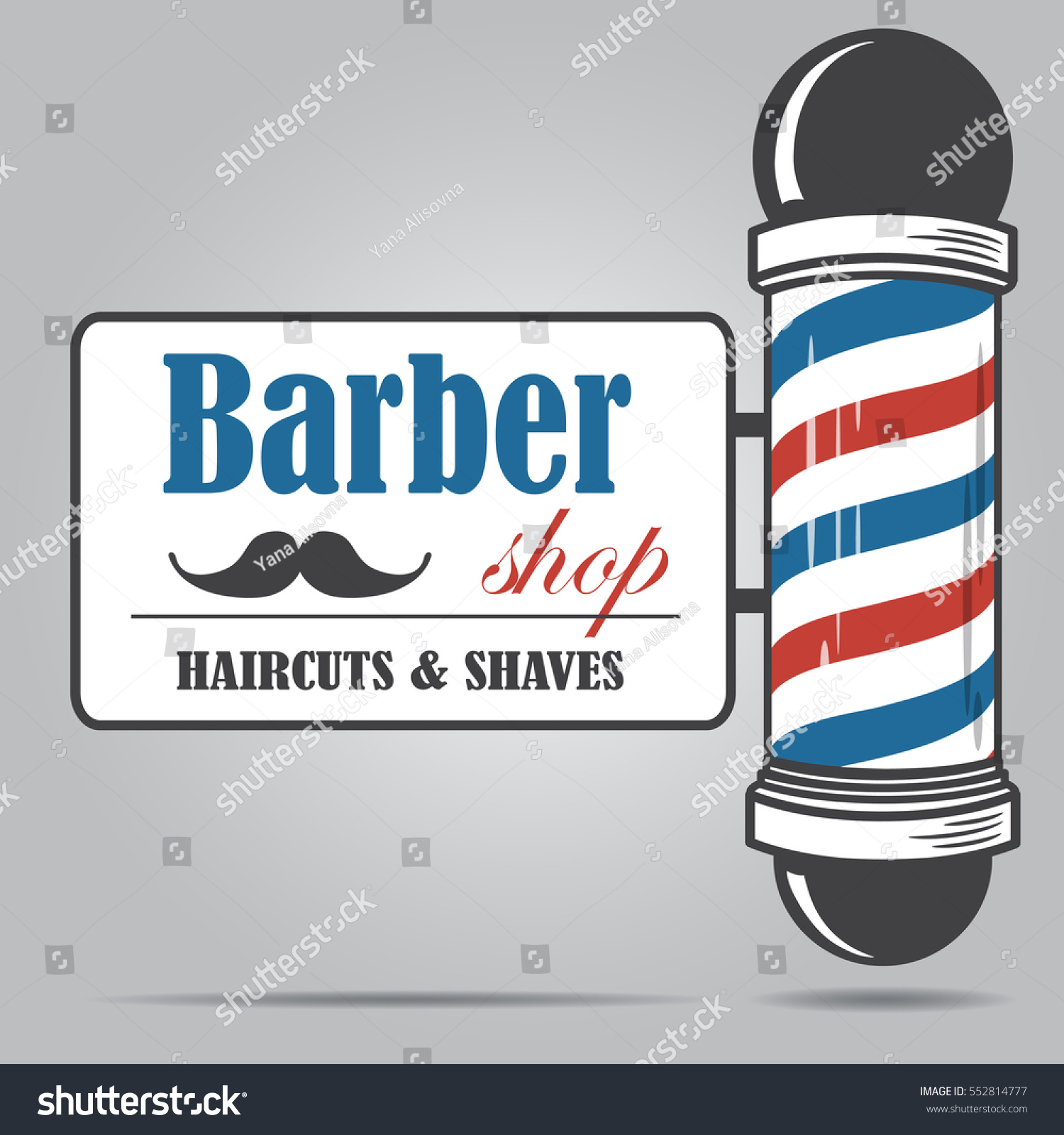 Well known Old Fashioned Vintage Glass Barber Shop Stock Vector (2018  CR69