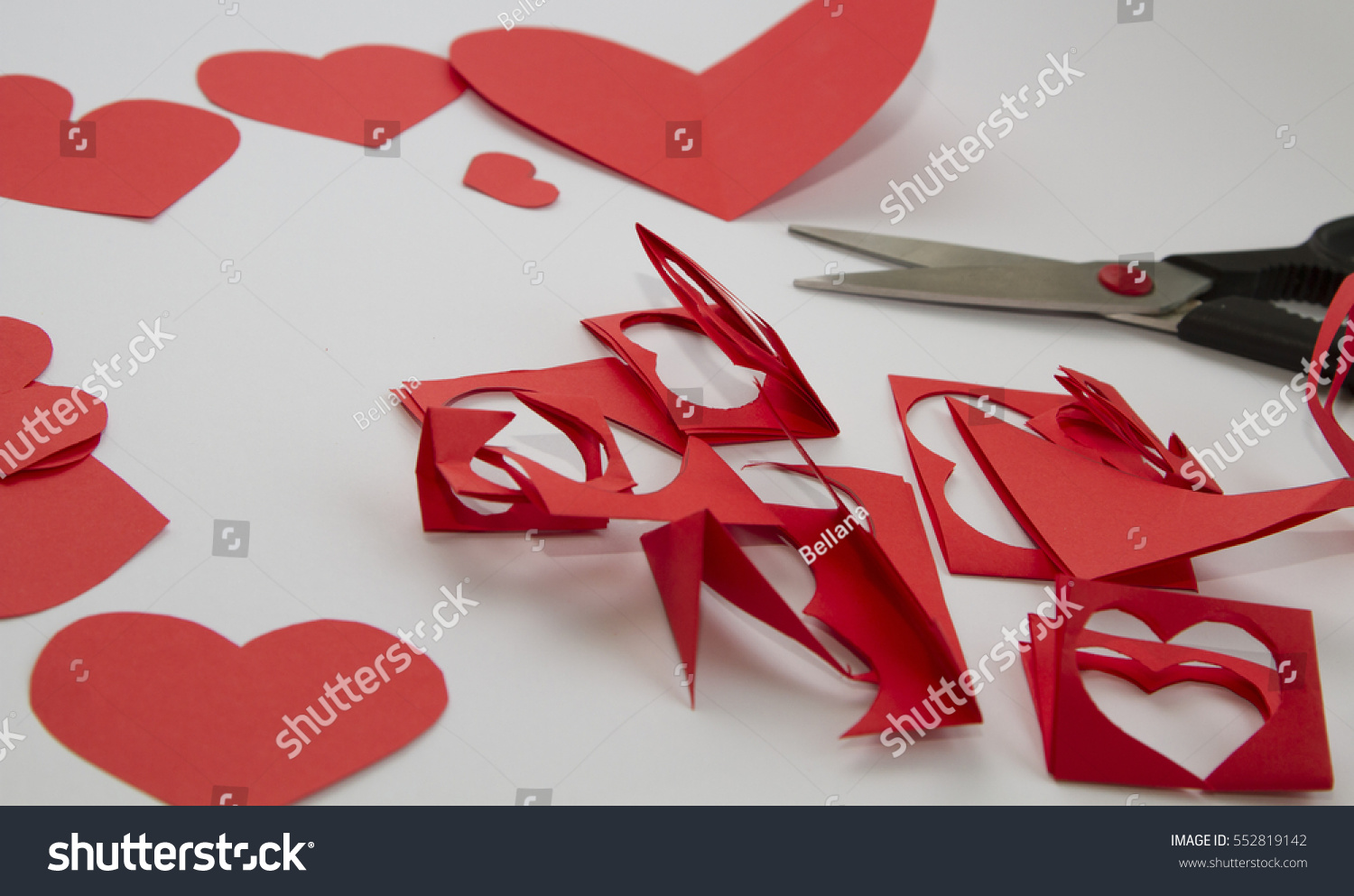 Preparation Greeting Cards Day Red Paper Stock Photo Edit Now