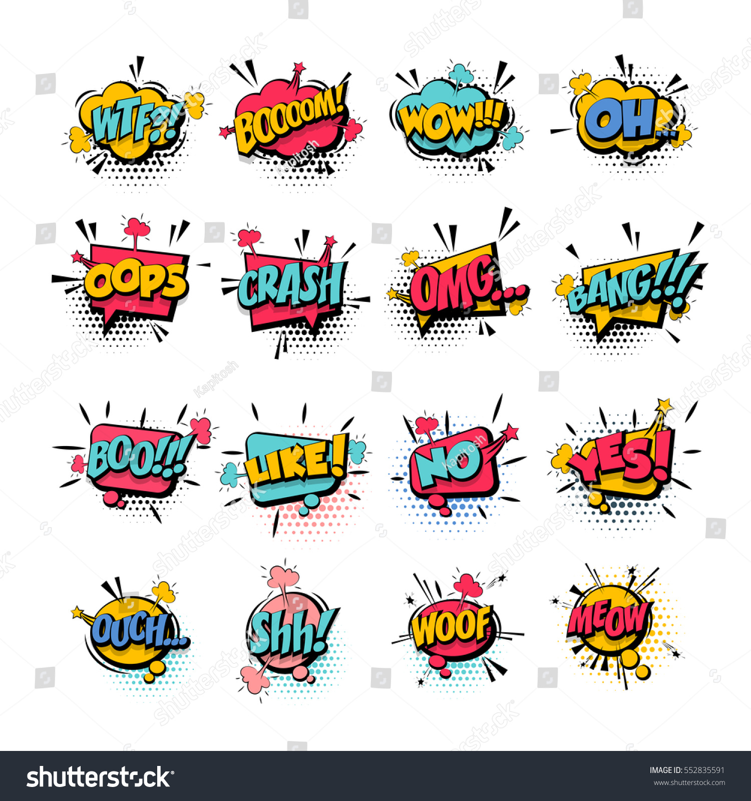 comic collection colored sound effects pop stock vector