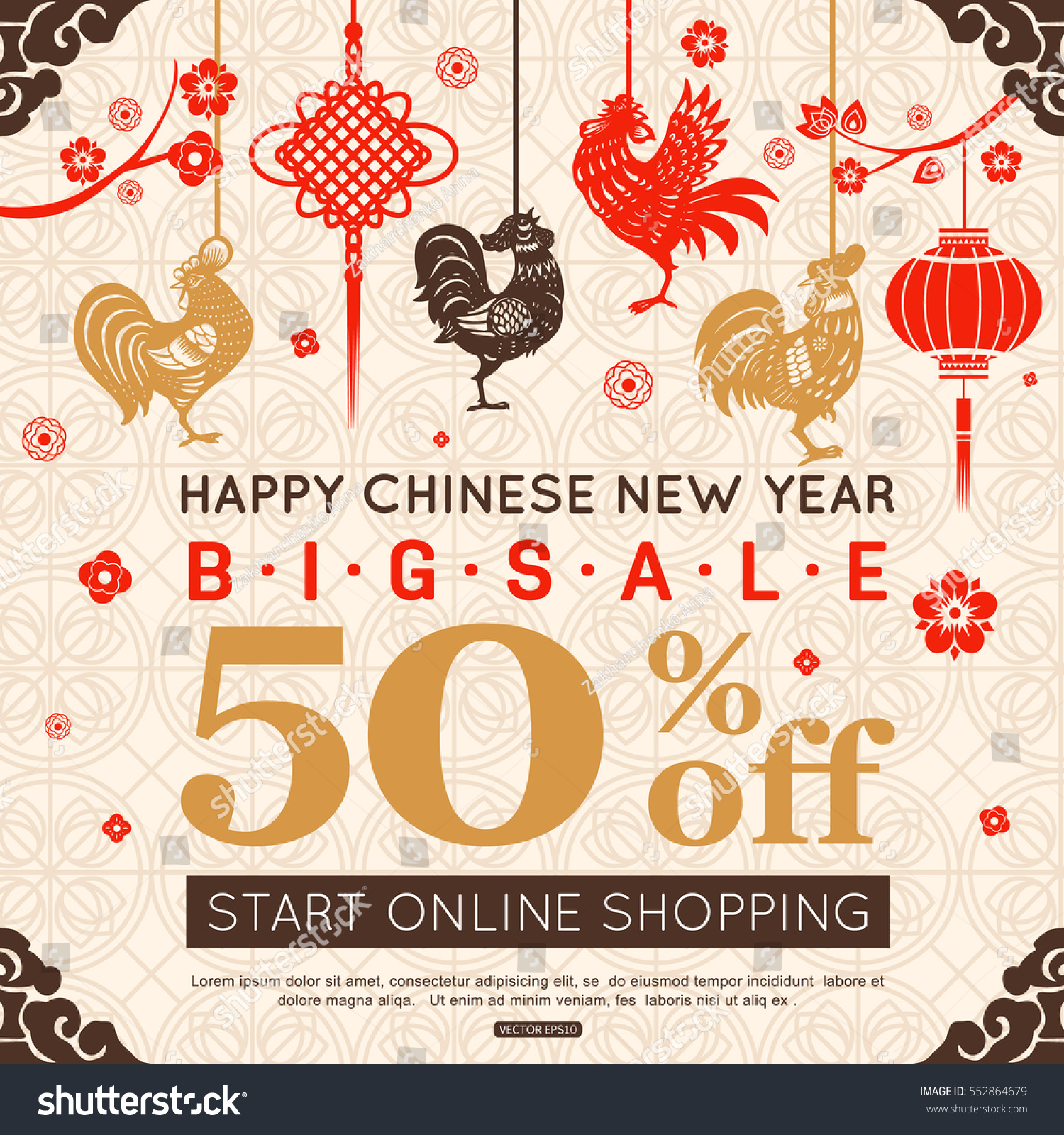 chinese new year sale banner with hanging rooster flower lantern vector illustration