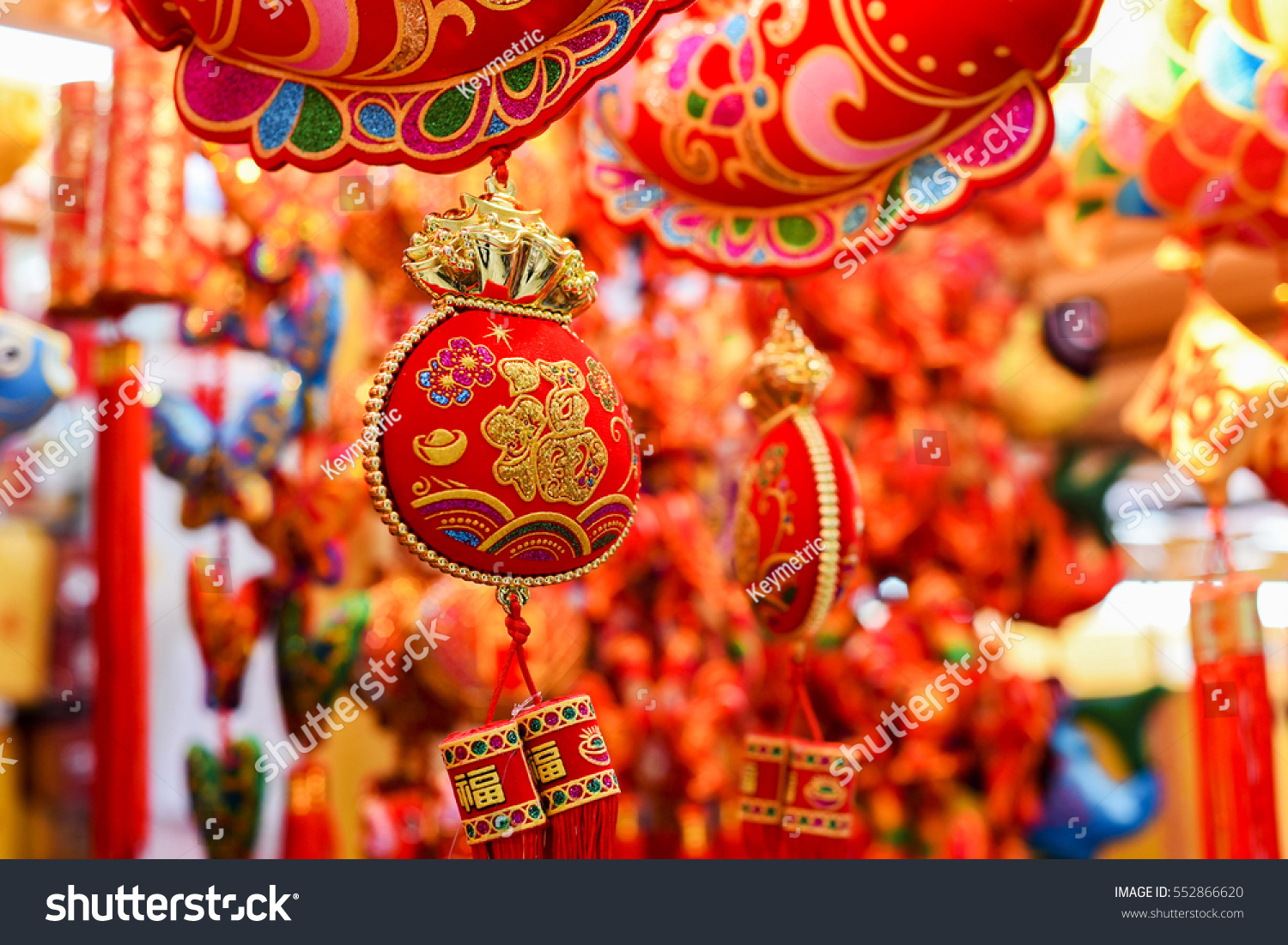 Chinese decorations. Traditional Chinese new year decorations. Chinese red  decorations.