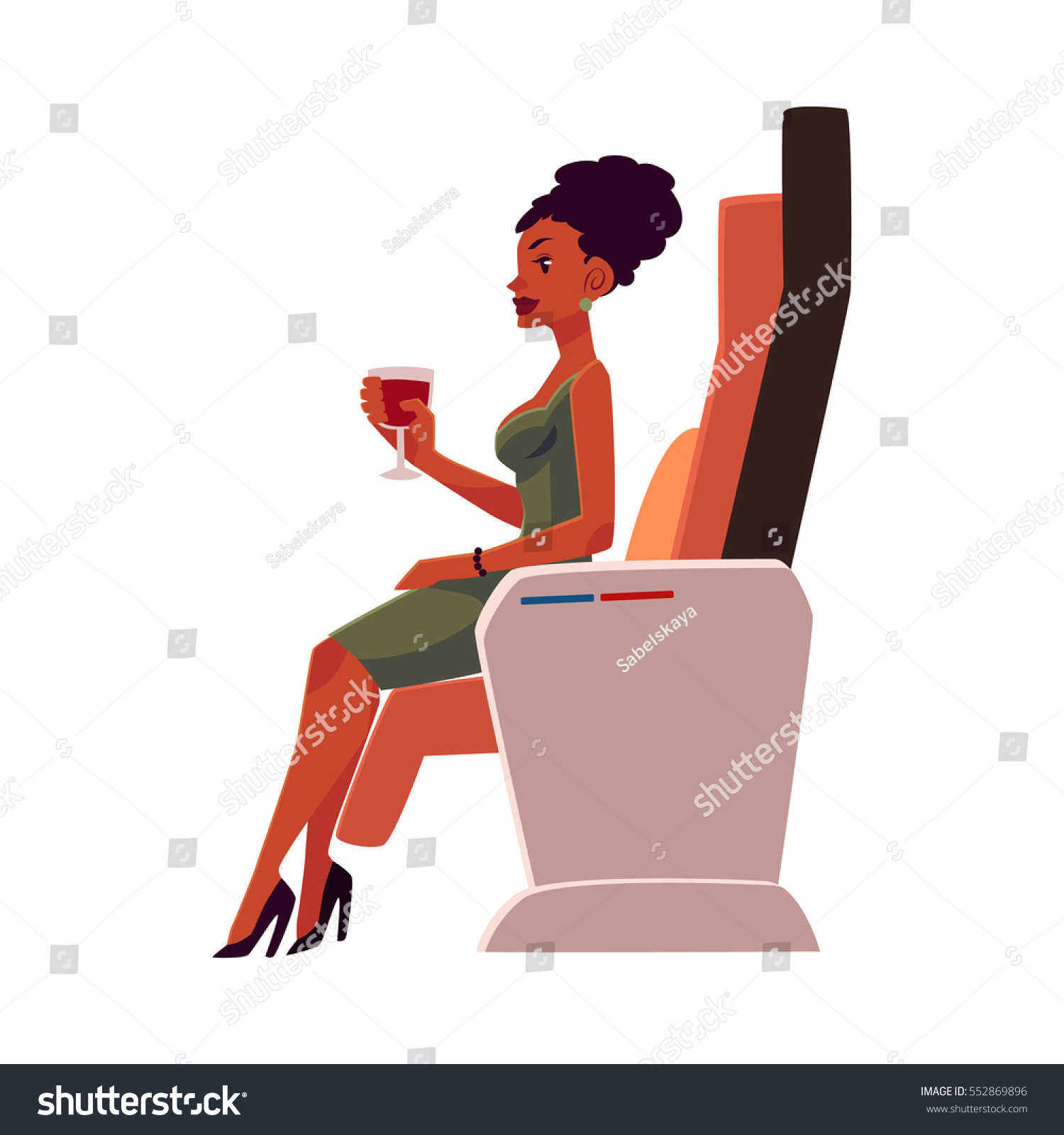 Africa Business Class: Black African American Lady Woman Holding Stock Vector