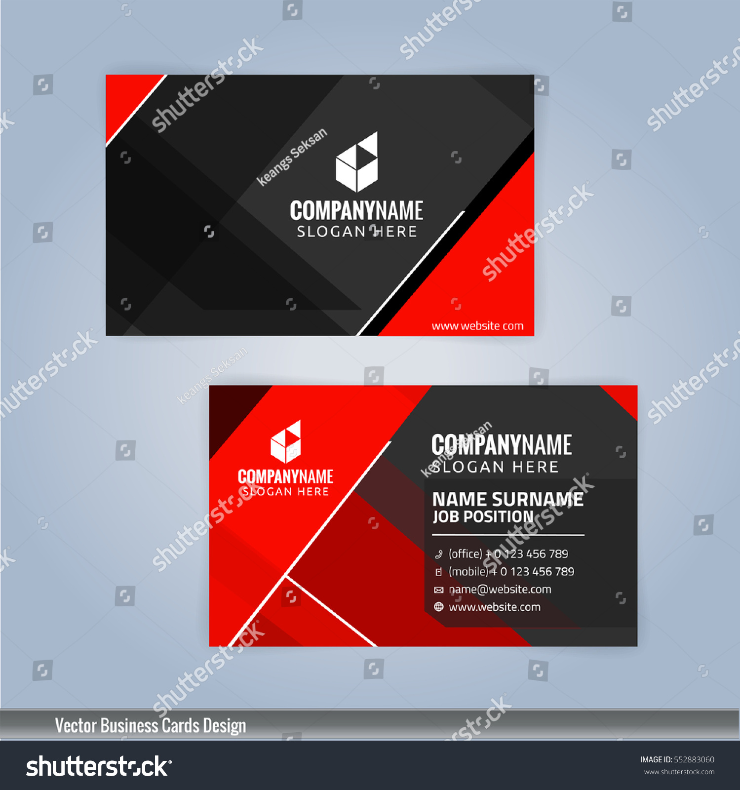 Red Black Modern Business Card Template Stock Vector