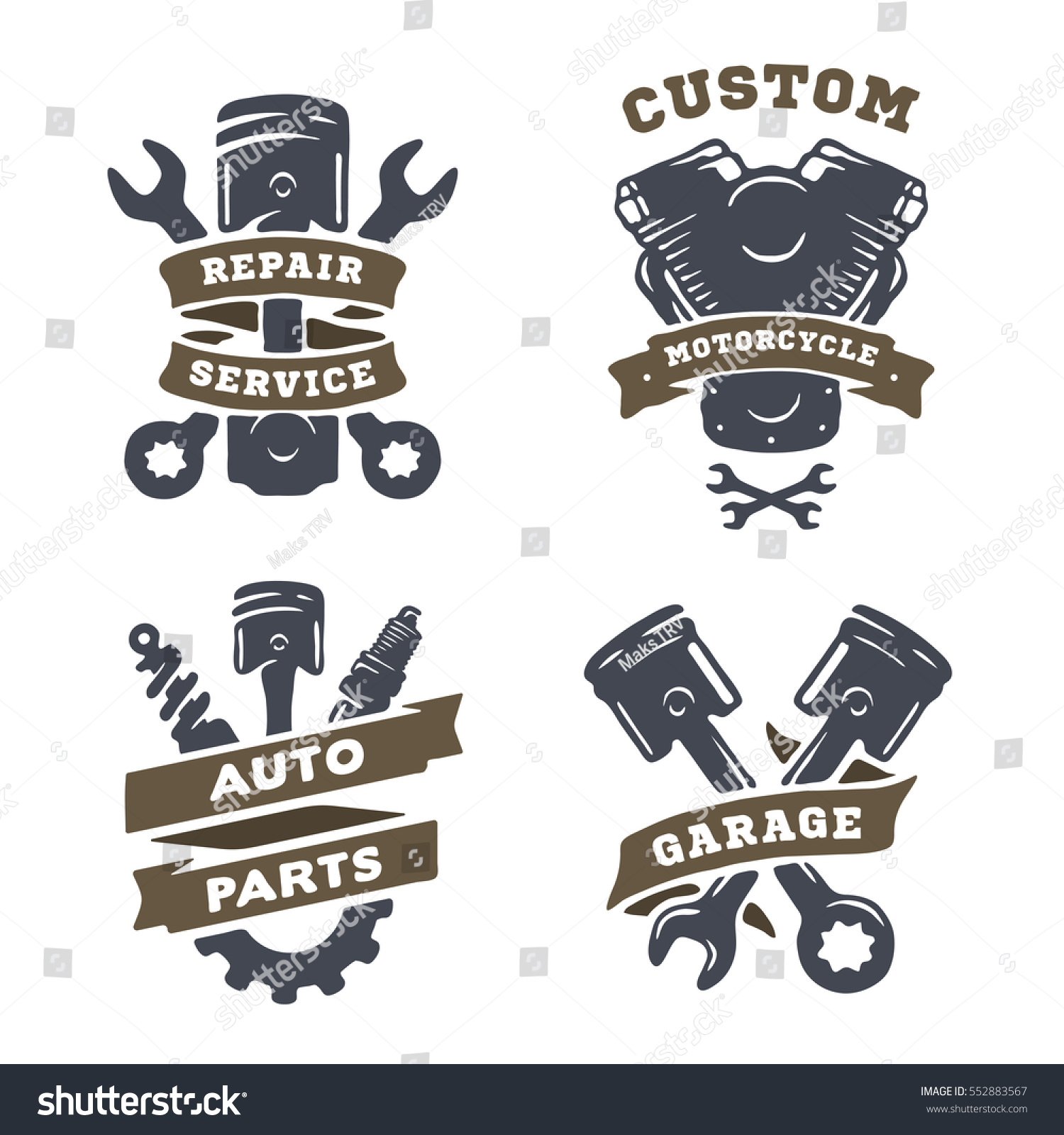 Set auto logos garage service spare stock illustration for Garage auto discount montpellier