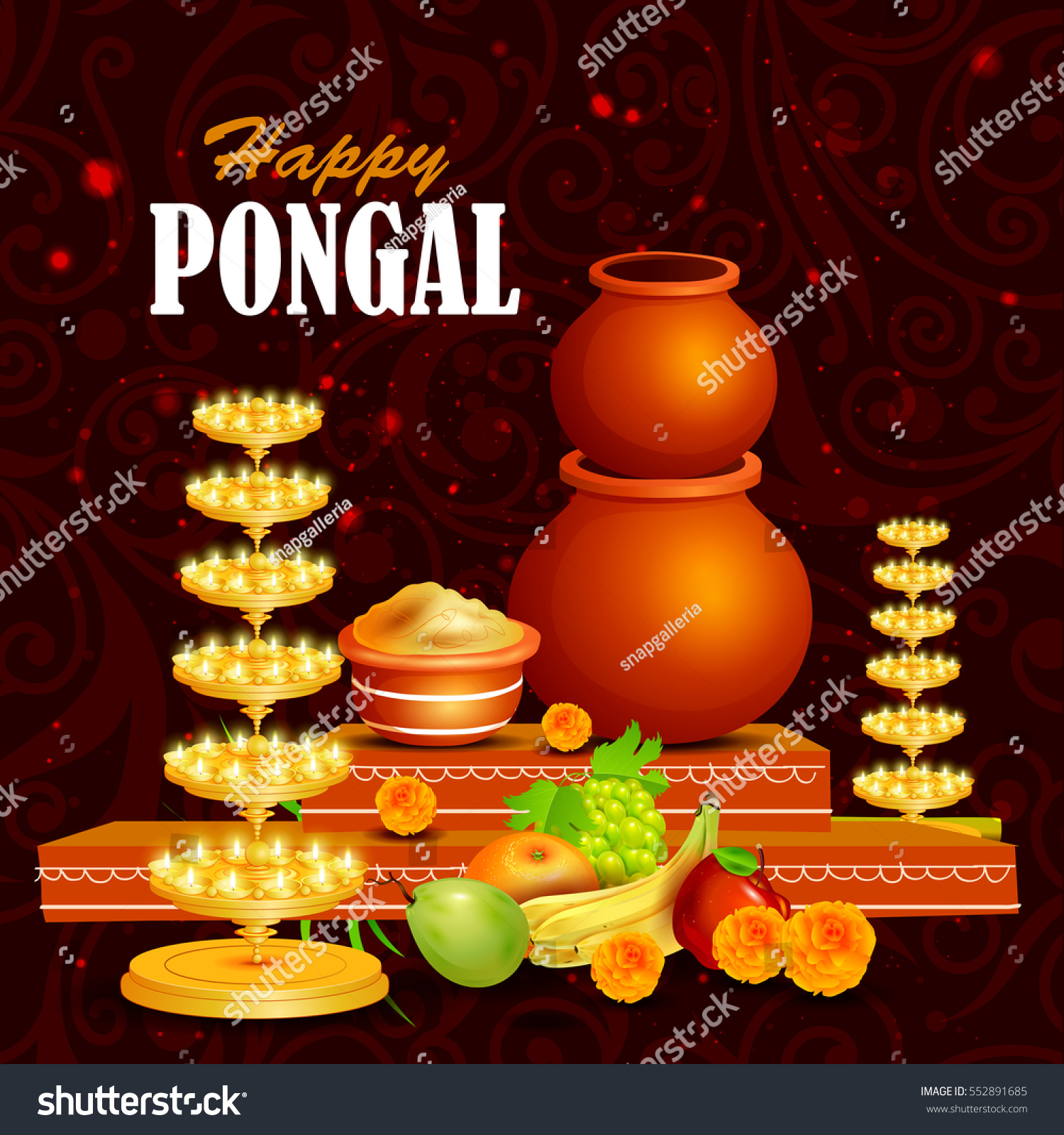 easy to edit vector illustration of happy pongal festival of tamil nadu india background 552891685
