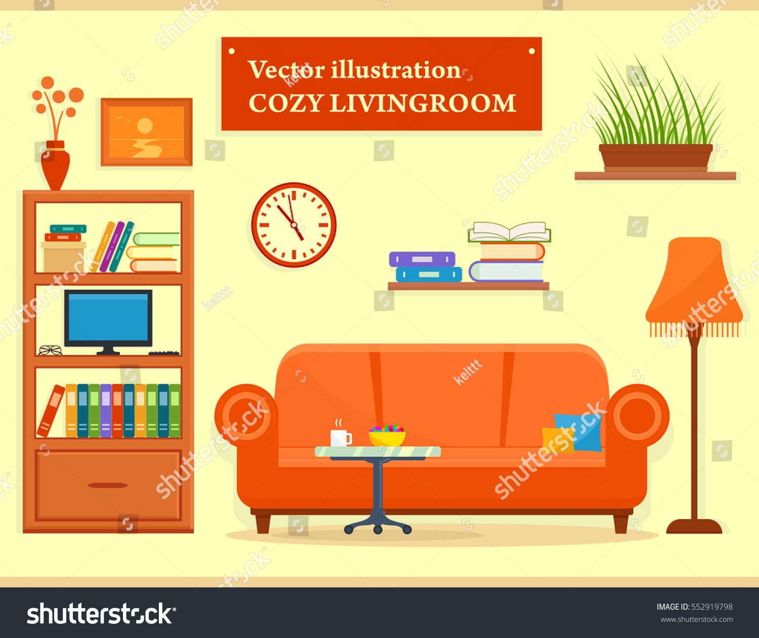 Cozy Living Room Vector Illustration: Modern Cozy Living Room Interior Sofa Stock Vector