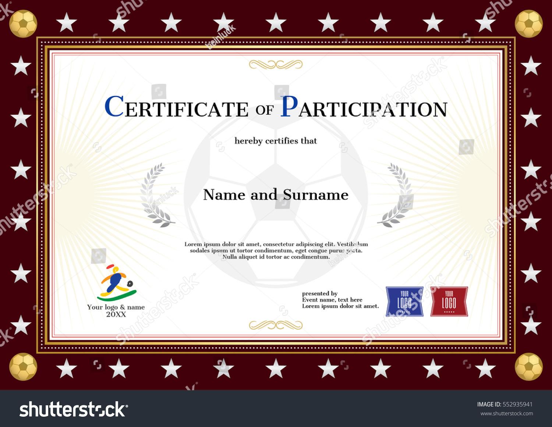 Certificate Participation Template Sport Theme Football
