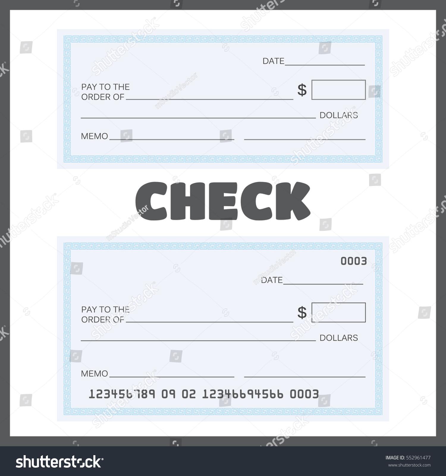 Blank Check Bank Check Template Set Stock Vector 552961477 ...