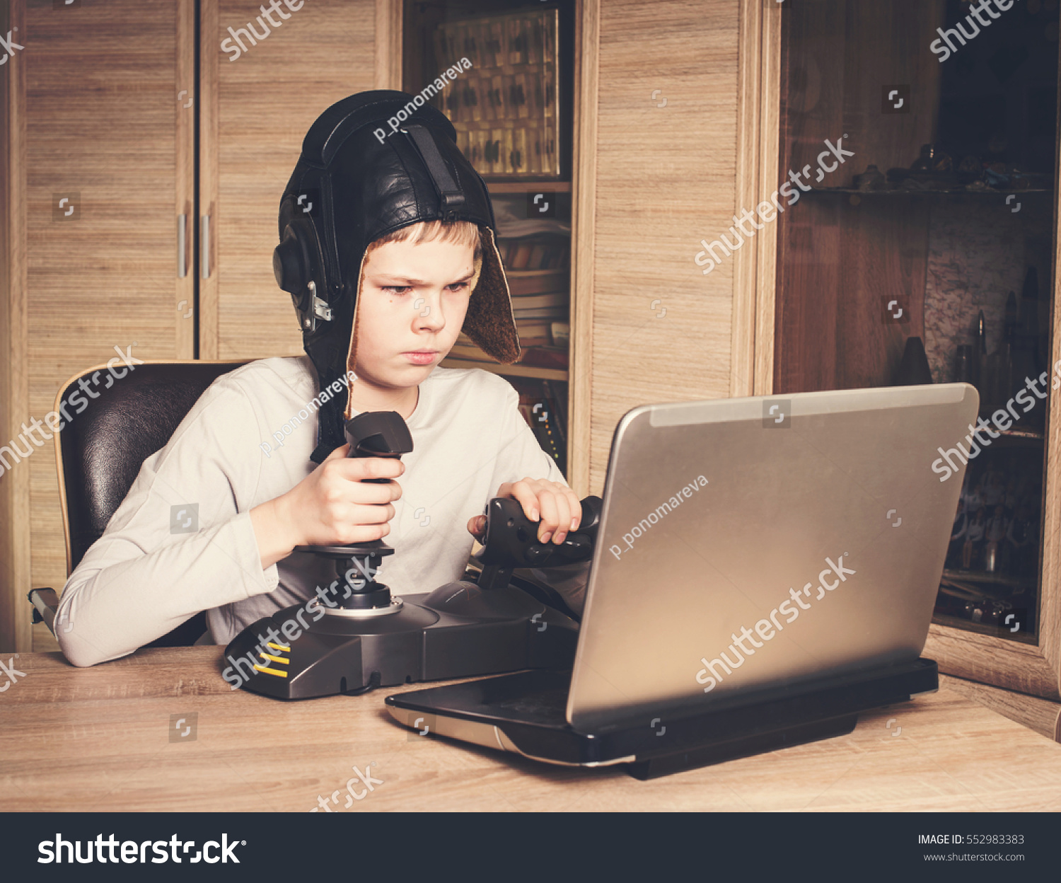 Kid Playing Online Pc Game Emotional Stock Photo (Edit Now) 552983383