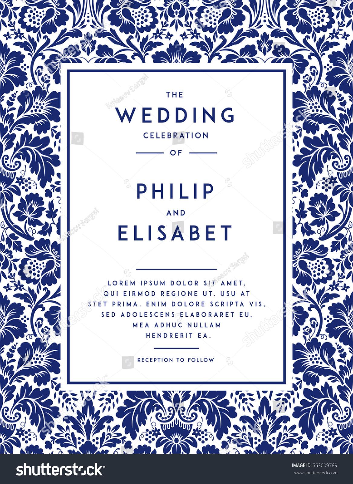 vintage wedding invitation template modern design wedding invitation design with damask background tradition - Vintage Wedding Invitation Templates
