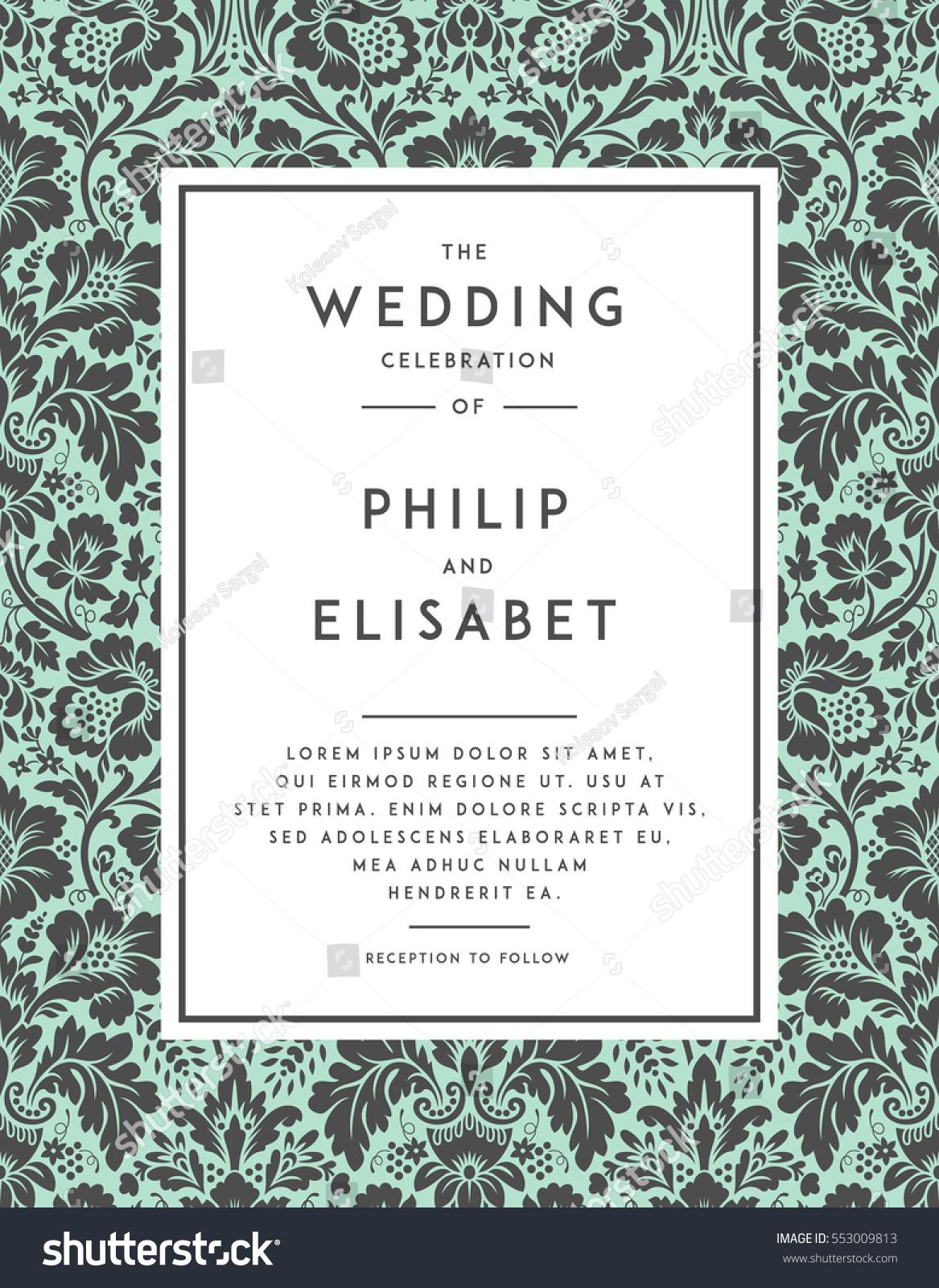 Vintage Wedding Invitation Template Modern Design Stock Vector HD ...
