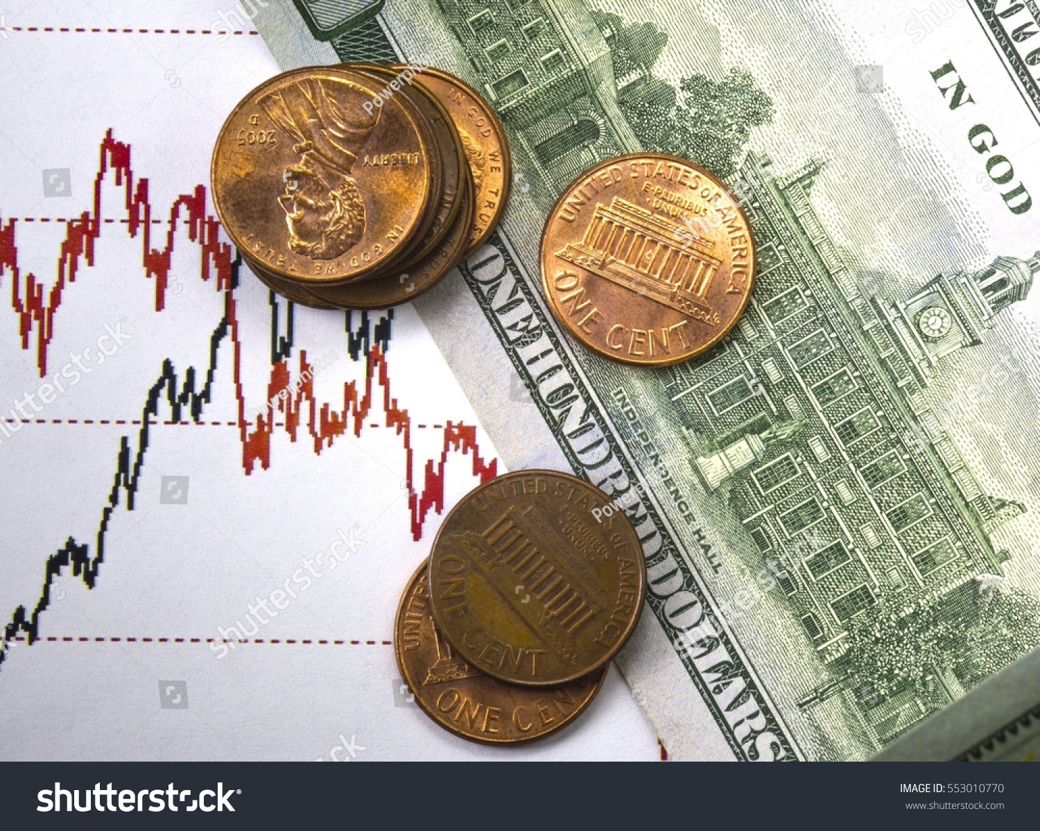 Stock Market Prices Chart Black Red Stock Photo (Edit Now