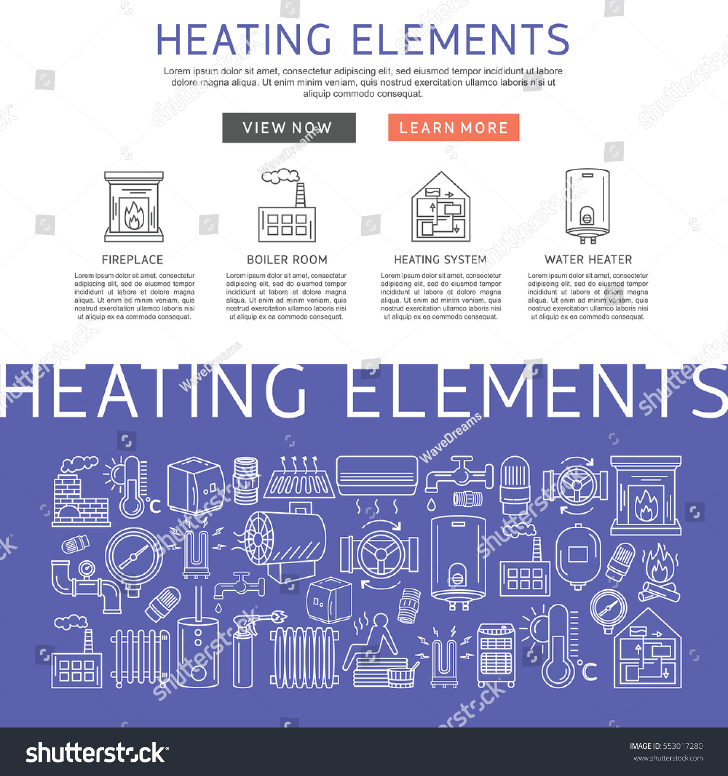 Heating elements outline vector linear stock