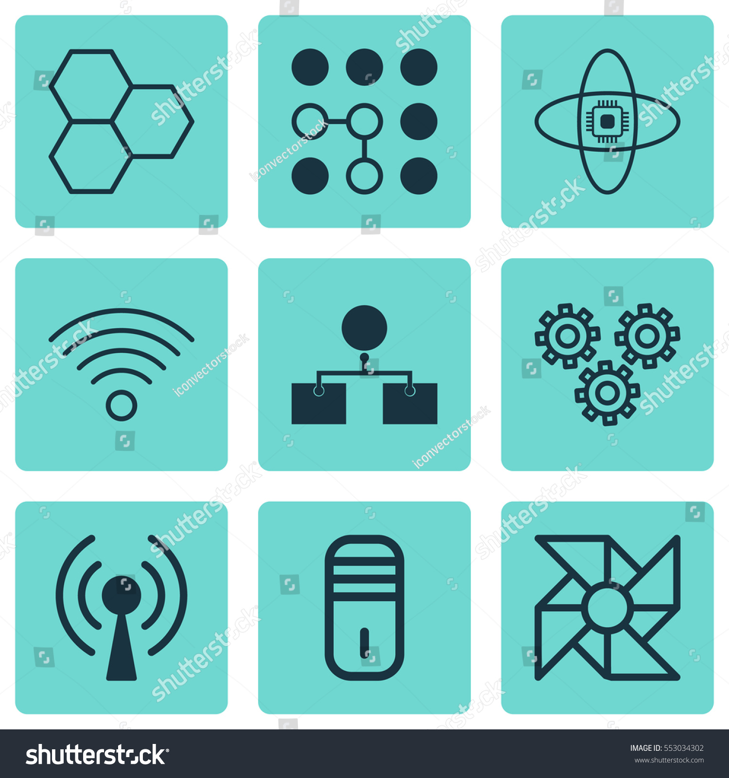 Set 9 Artificial Intelligence Icons Includes Stock Vector Royalty Parts Of A Laptop Computer Diagram Analysis Ventilator Mechanism