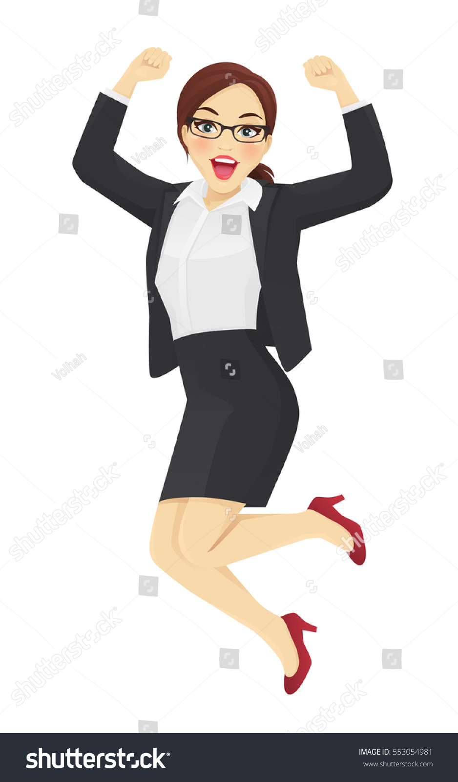 Happy business woman in suit jumping isolated