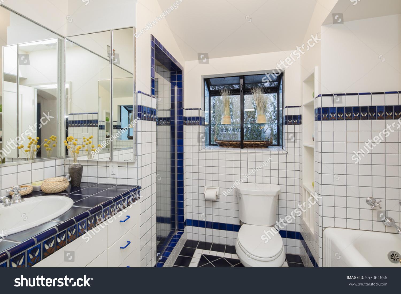 Bathroom Square White Blue Tiles Stock Photo (Royalty Free ...