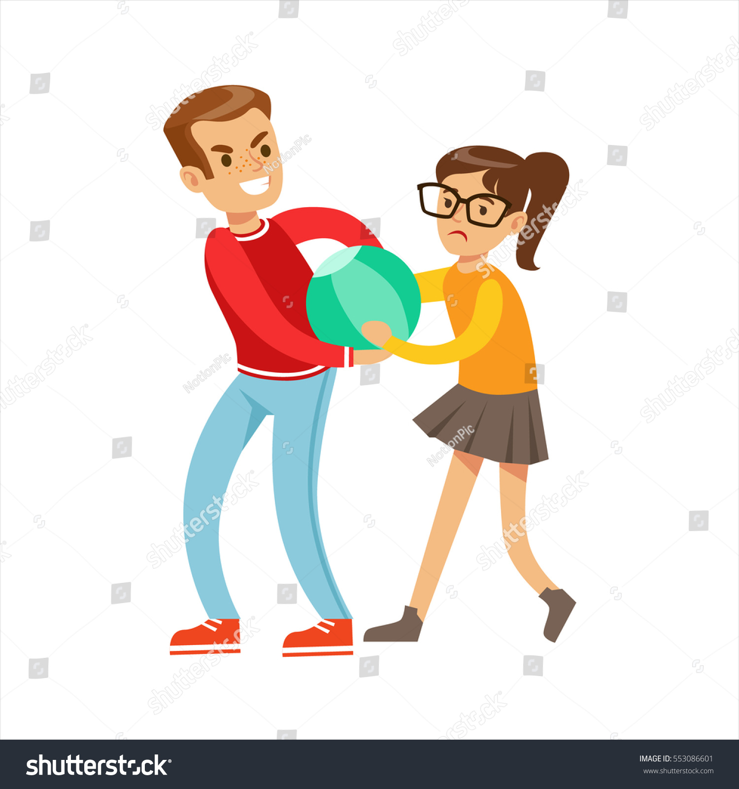 Boy And Girl Fist Fight Positions, Aggressive Bully In Long Sleeve Red Top  Fighting Another