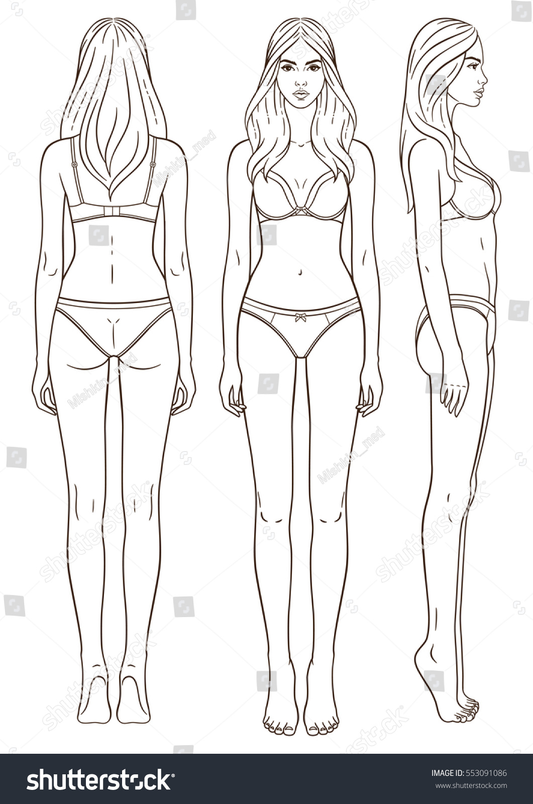 Vector Illustration Of Womans Body Isolated Outline Line Contour Template Girl In