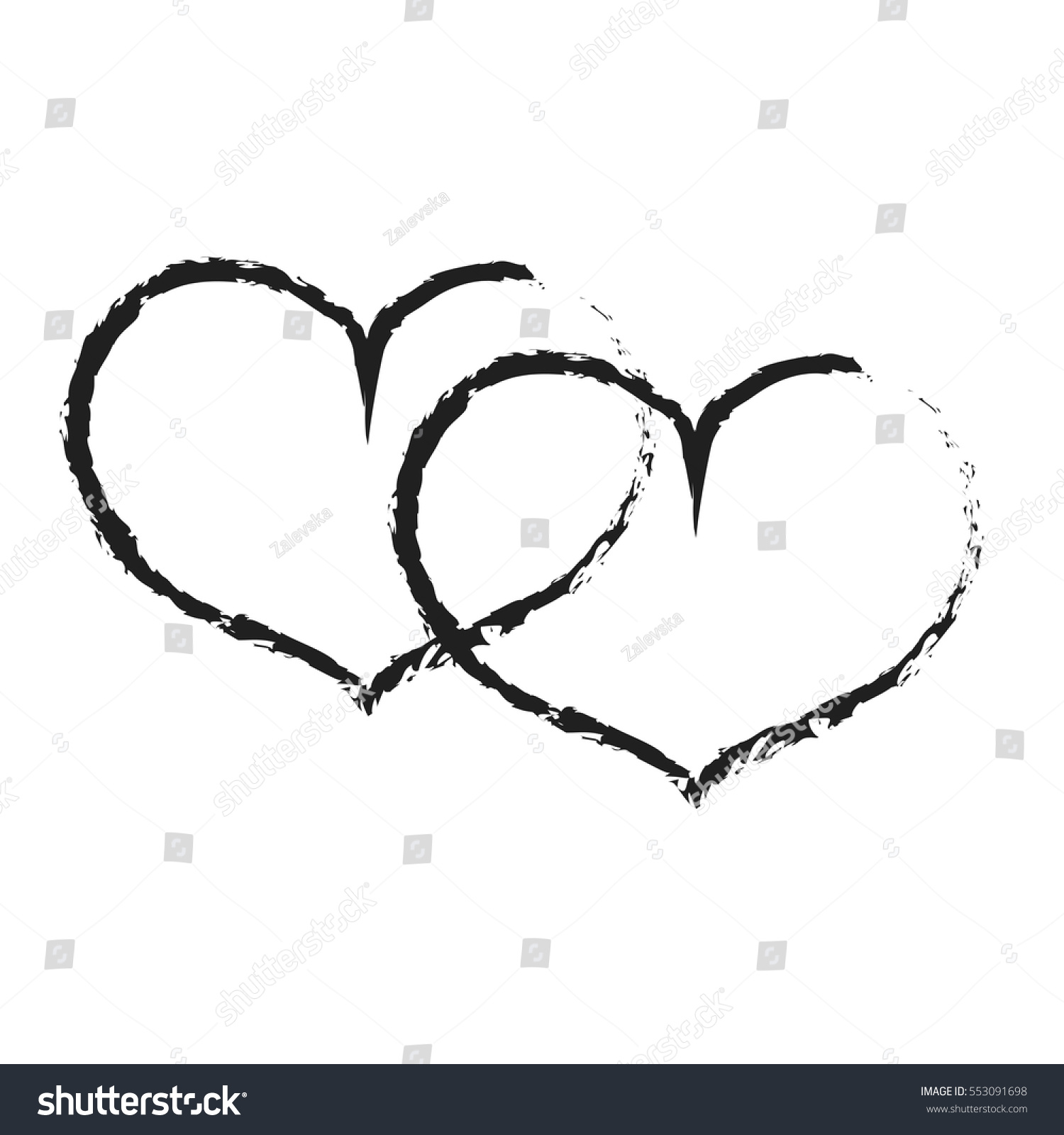 Sign Black Double Heart Image Love Stock Vector Royalty Free