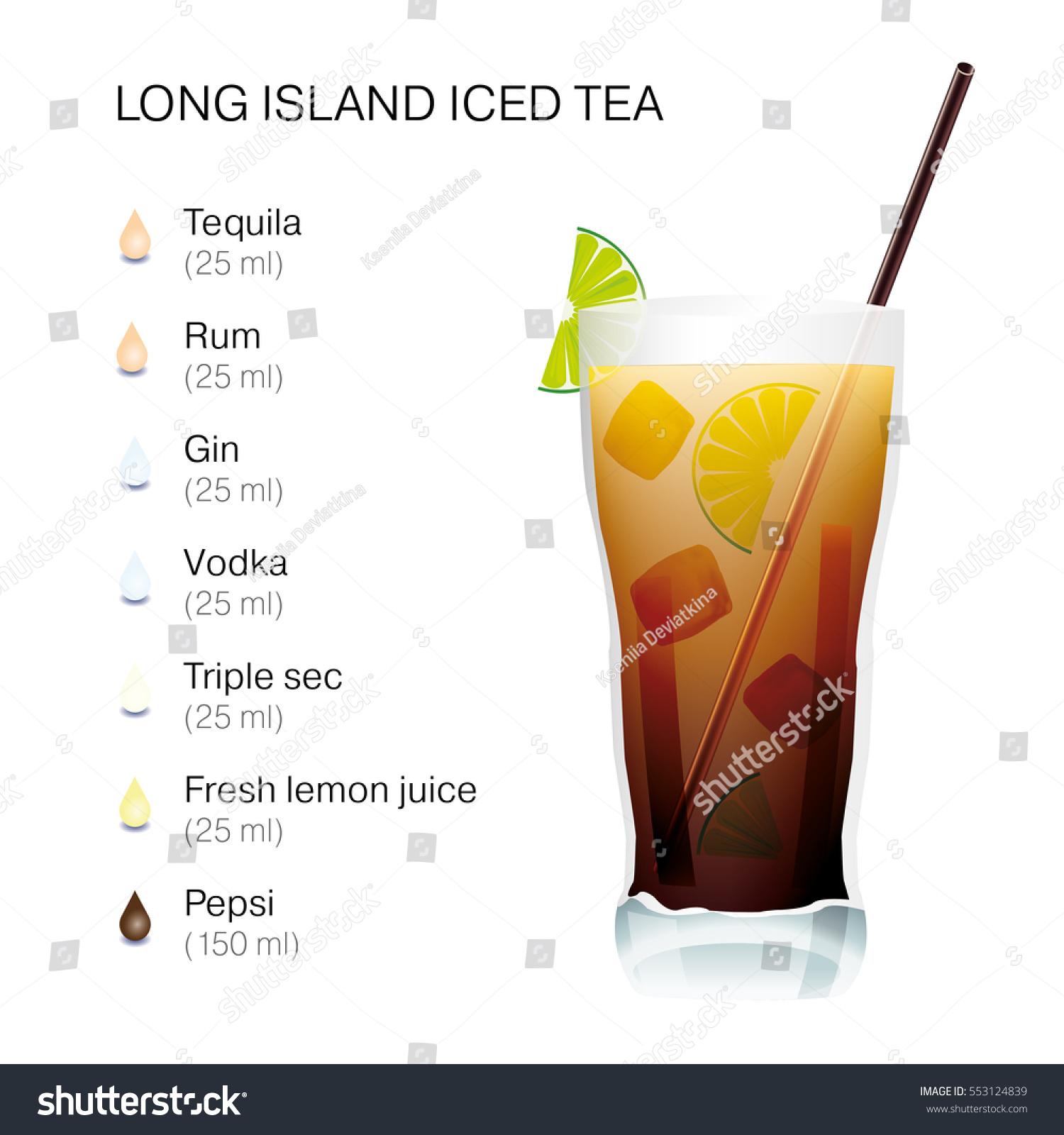 Long Island Iced Tea Cocktail Recipe Stock Vector Royalty Free 553124839