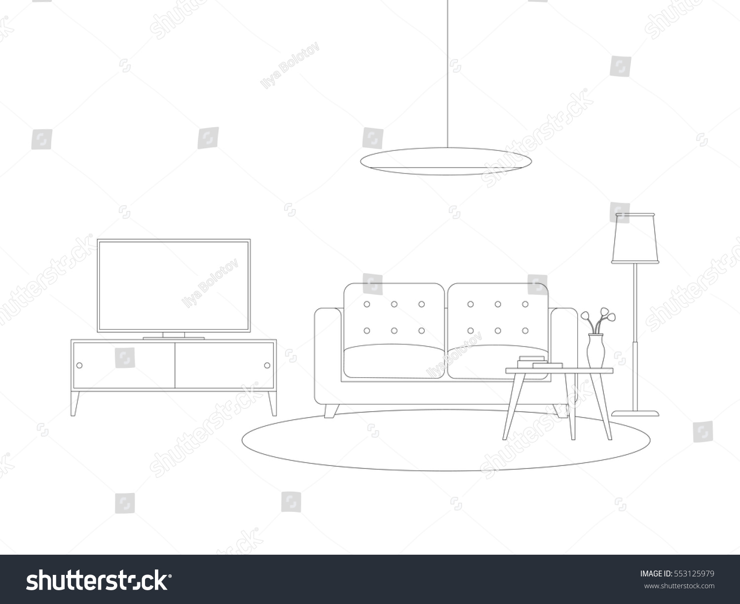 The Line Art And Living : Line interior living room furniture vector stock