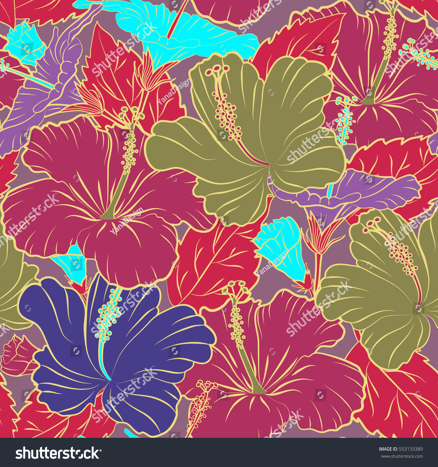 Hibiscus Flower Background Pretty Pink Yellow And Violet Floral