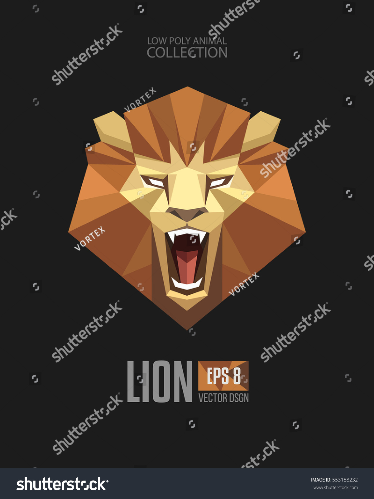 Tiger head triangular icon geometric trendy stock vector image - Trendy Geometric Low Polygon Style Lion Majestic Roaring Looking Face Head Mascot Logo Icon Origami