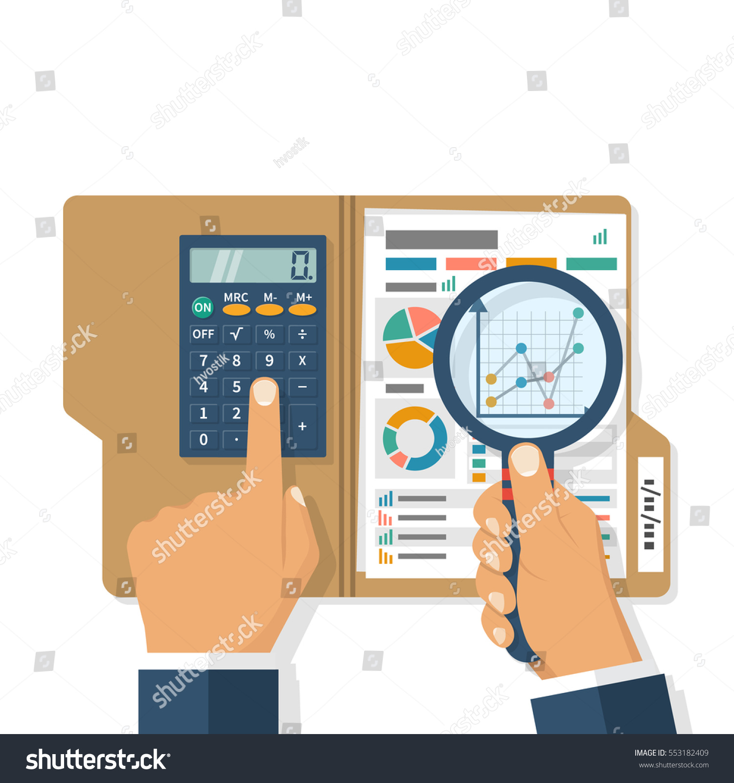 Finance Market: Research Business Concept Businessman Analyzing Financial