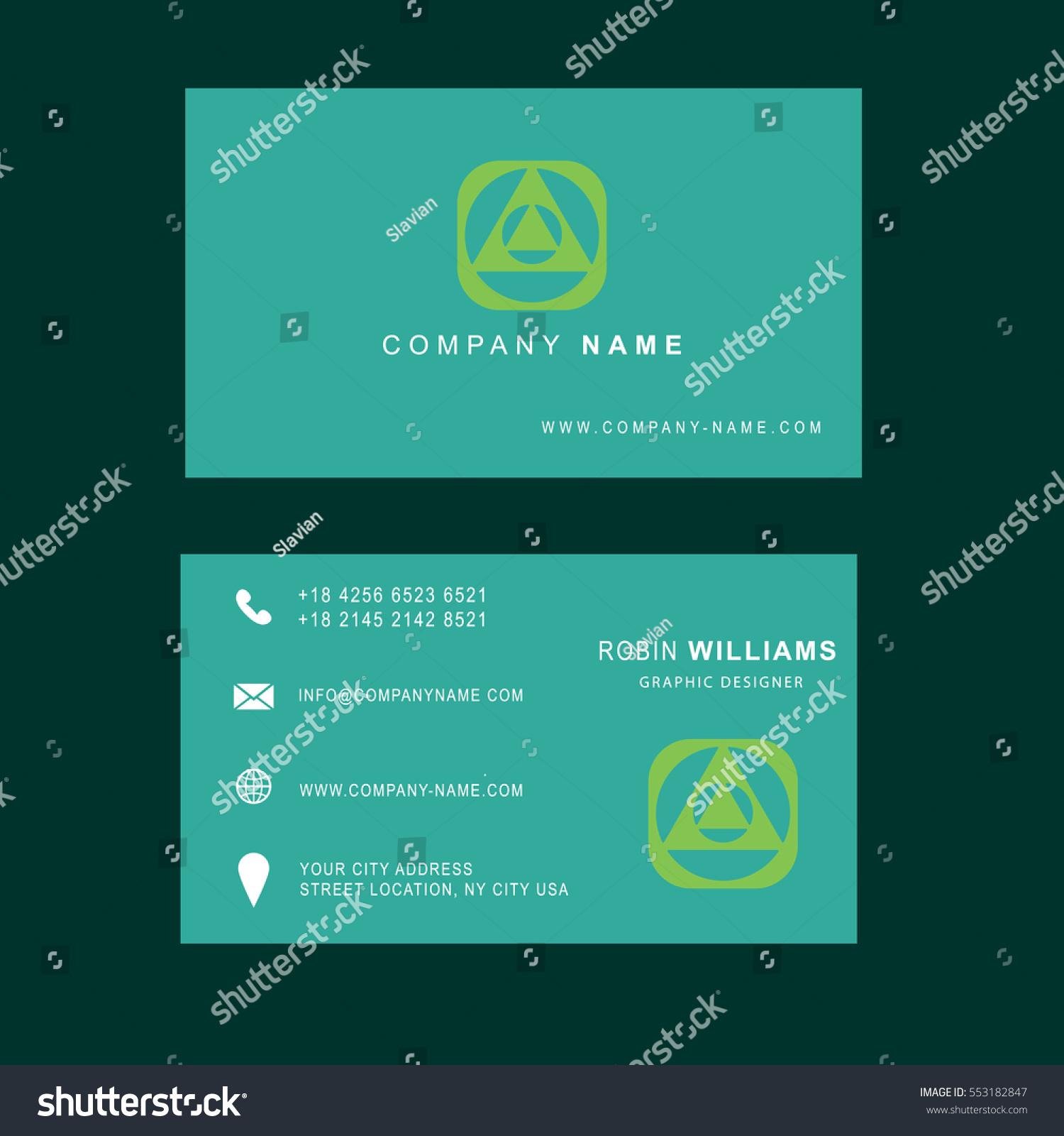 Light Green Business Card Modern Design Stock Photo (Photo, Vector ...