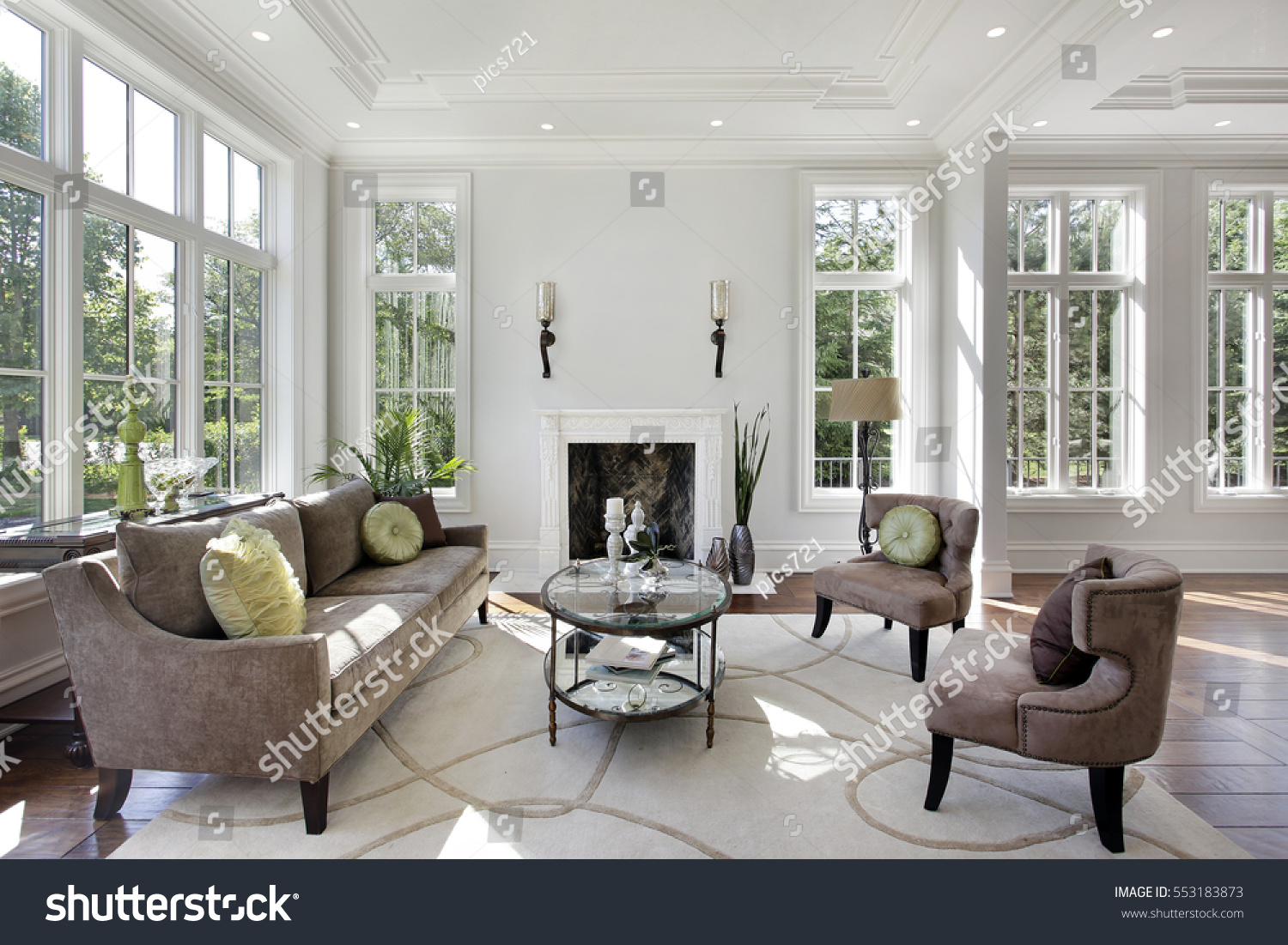 Living Room Luxury Home Fireplace Stock Photo 553183873