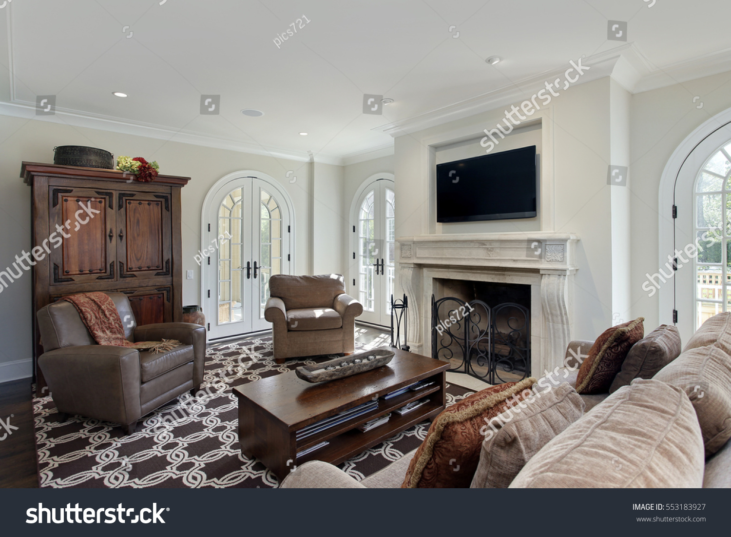 family room luxury home fireplace stock photo 553183927 shutterstock