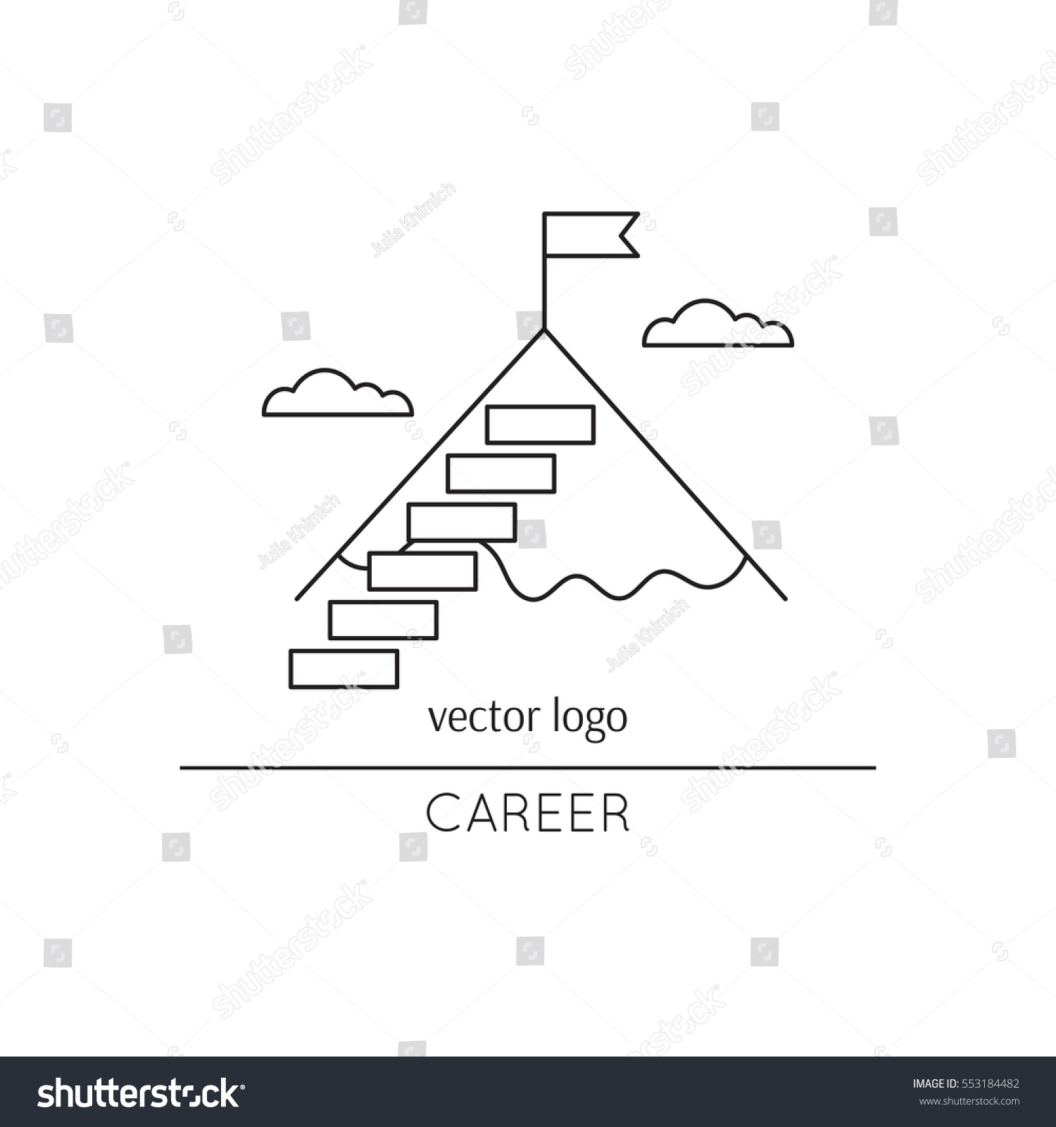 vector thin line icon stairs mountain stock vector  vector thin line icon stairs to the mountain top metaphor of achieving goals and