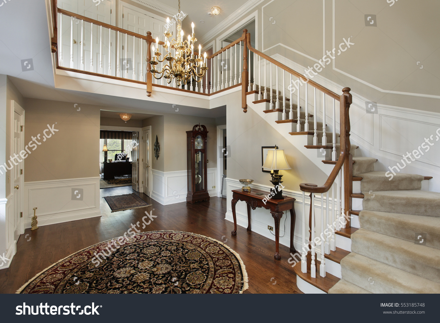 Luxury House Foyer : Foyer luxury home carpeted stairs stock photo