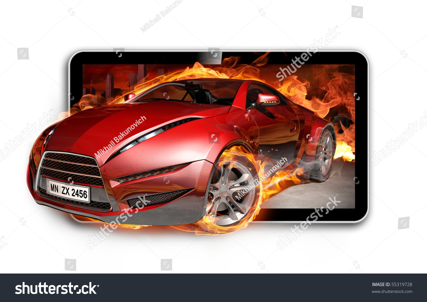 3d tv burning sports car on tv screen stock photo 55319728 shutterstock. Black Bedroom Furniture Sets. Home Design Ideas