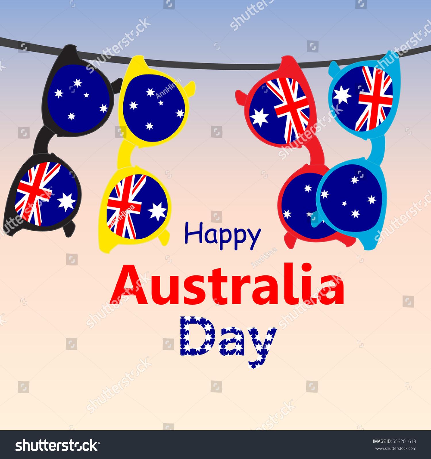 Greeting Card Day Australia Sunglasses Flag Stock Vector Royalty