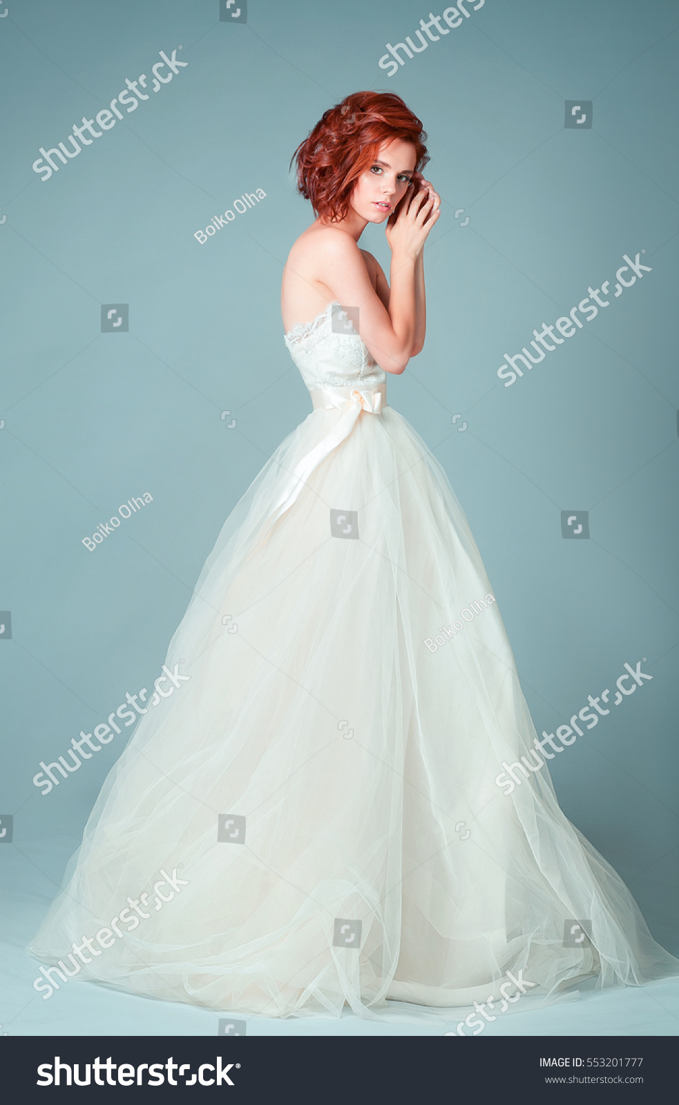 Portrait Beautiful Fashion Bride Studio Perfect Wedding Stock Photo ...