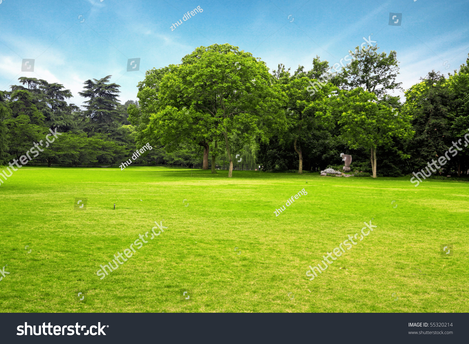 Meadow Green Grass Trees Under Blue Stock Photo 55320214 ...