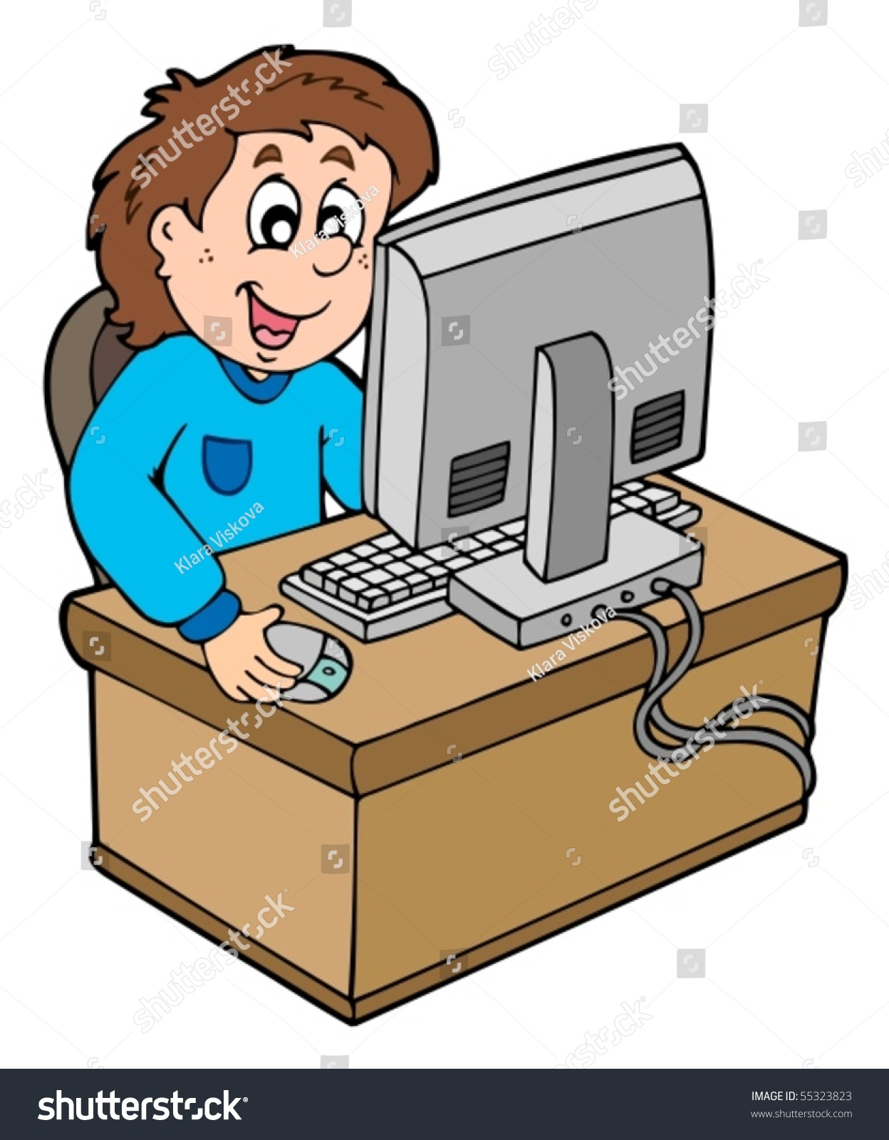 cartoon boy working computer vector illustration stock