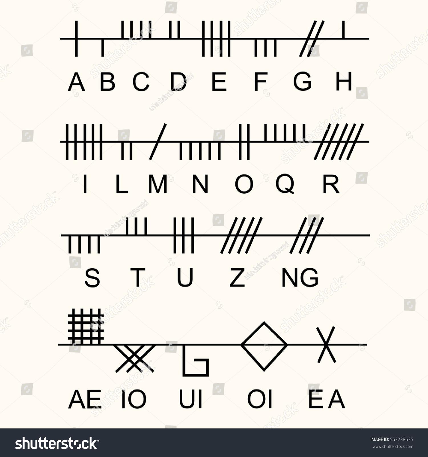 Set old sacred celtic ogham alphabet stock vector 553238635 set of old sacred celtic ogham alphabet ancient occult symbols on white vector buycottarizona Images