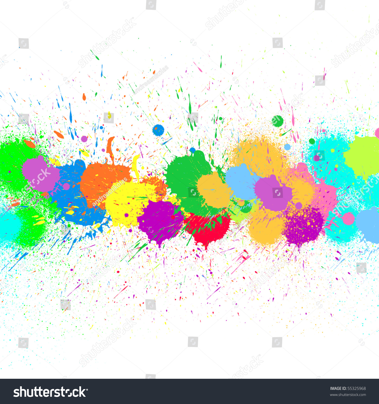Splash Water Colors On White Background Stock Illustration