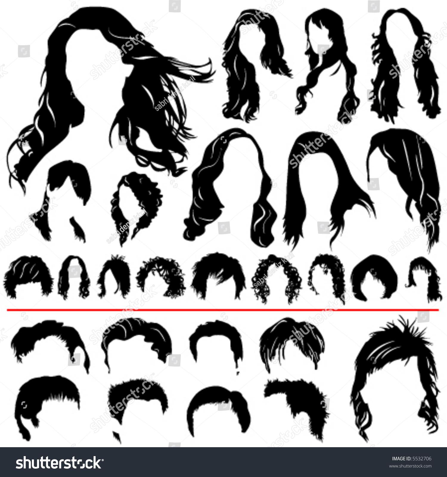 Women Men Hair Vector Different Style Stock Vector 5532706