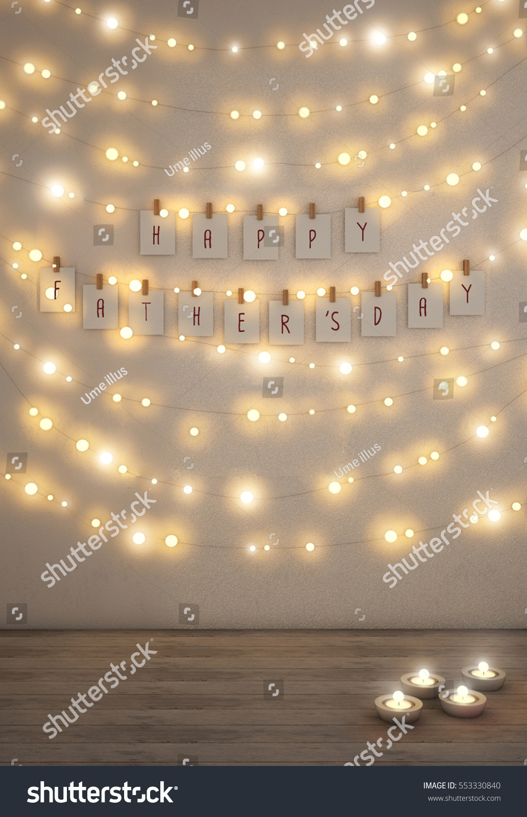 Happy fathers day card fairy lights stock photo edit now 553330840 happy fathers day card fairy lights on the wall aloadofball Gallery