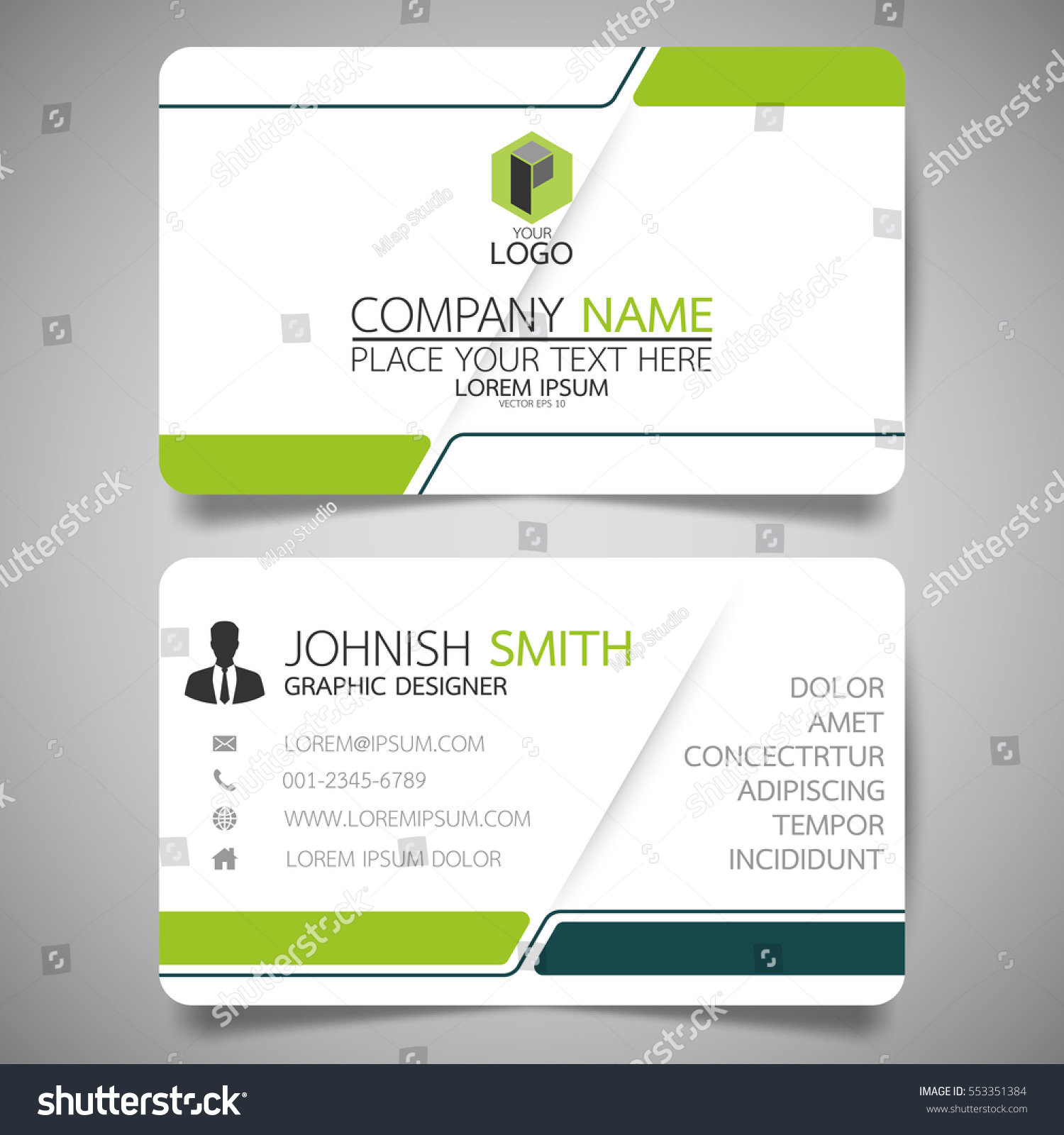 Green Modern Creative Business Card Name Stock Vector