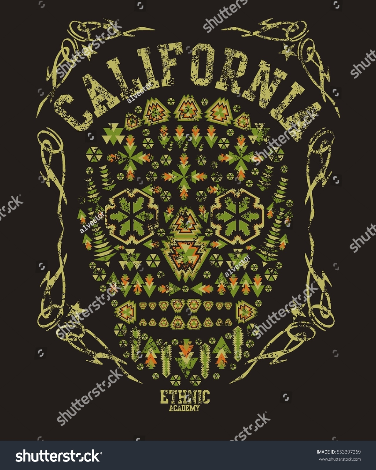 california skull geometric graphic design vector stock