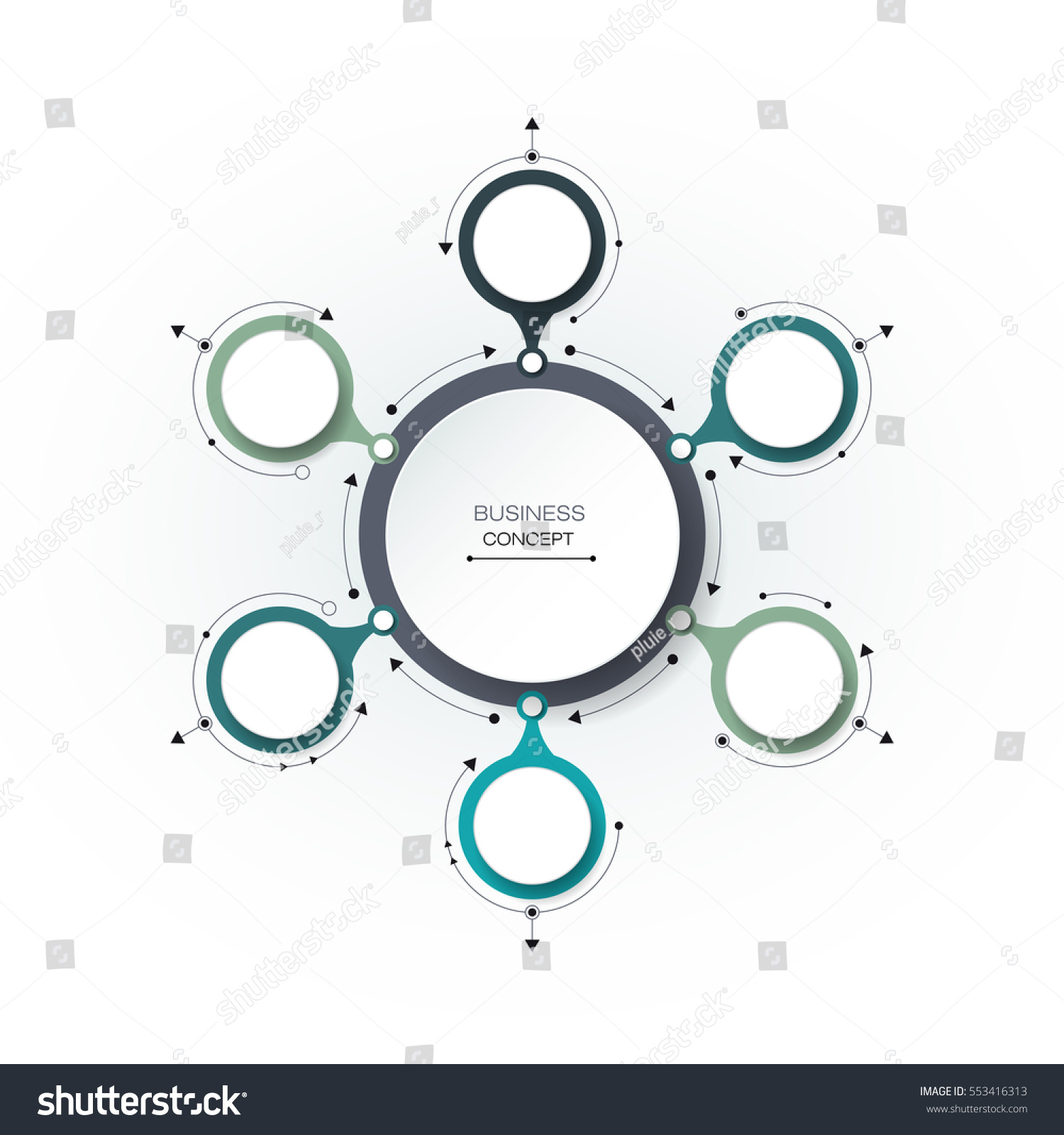 Vector Infographics 3 D Paper Cycle Diagram Stock Vector Royalty